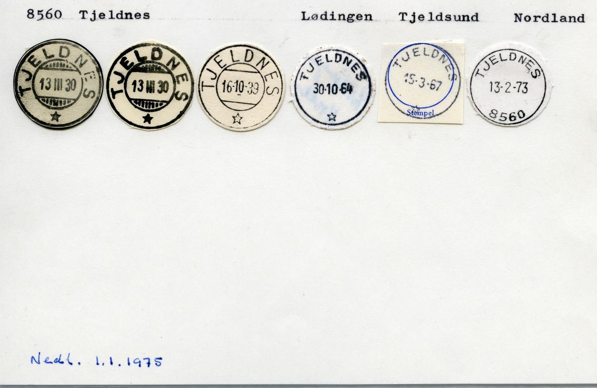 Stempelkatalog 8560 Tjeldnes, Lødingen, Tjeldsund, Nordland