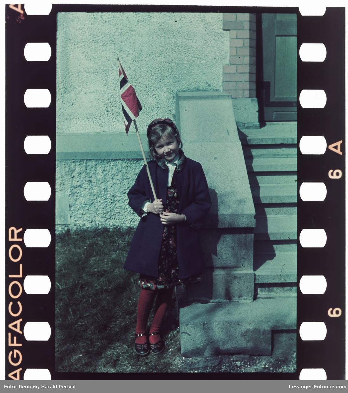 Jente med flagg i barnebunad 17.mai.