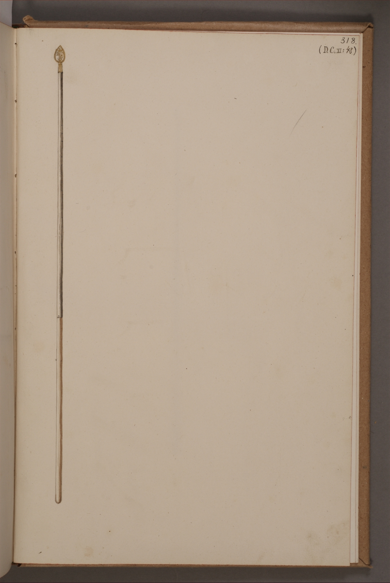 Avbildning i gouache föreställande fanstång tagen som trofé av svenska armén. Den avbildade fanstången finns bevarad i Armémuseums samling, för mer information, se relaterade objekt.