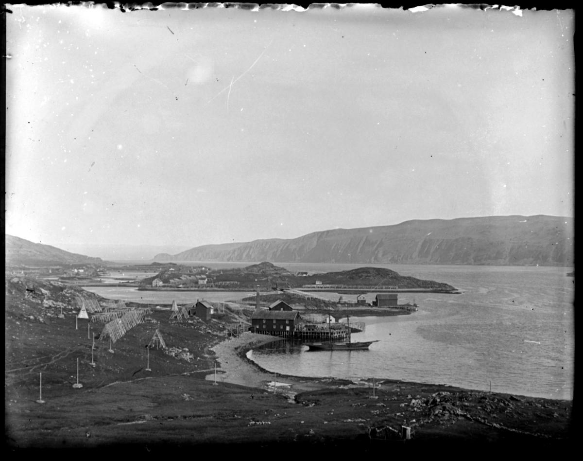 """Oversiktsbilde over fiskeværet Båtsfjord. De nærmeste bygningene tilhørte hvalfangstselskapet """"Håpet"""", men var ikke i drift etter 1900. Bak sees Liholmen, som er kalt opp etter Vardø-kjøpmannen Andreas Lie som visstnok var den første som drev fiskebruk der."""