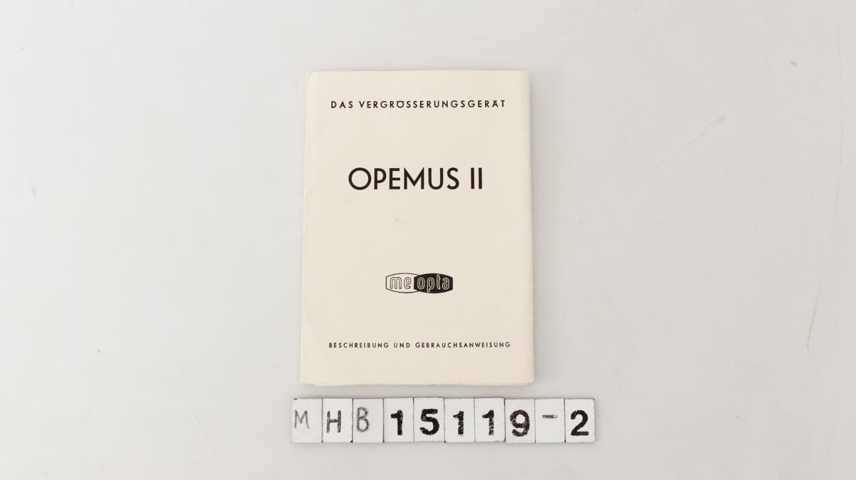 Bruksanvisning til Opemus II fremkallingsapparatet.
