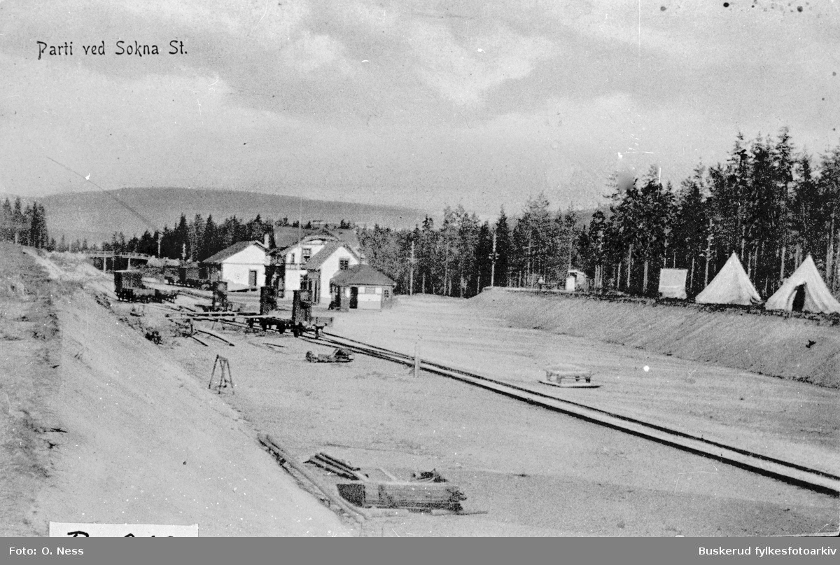 Sokna jernbanestasjon  1911  Parti ved Sokna st.