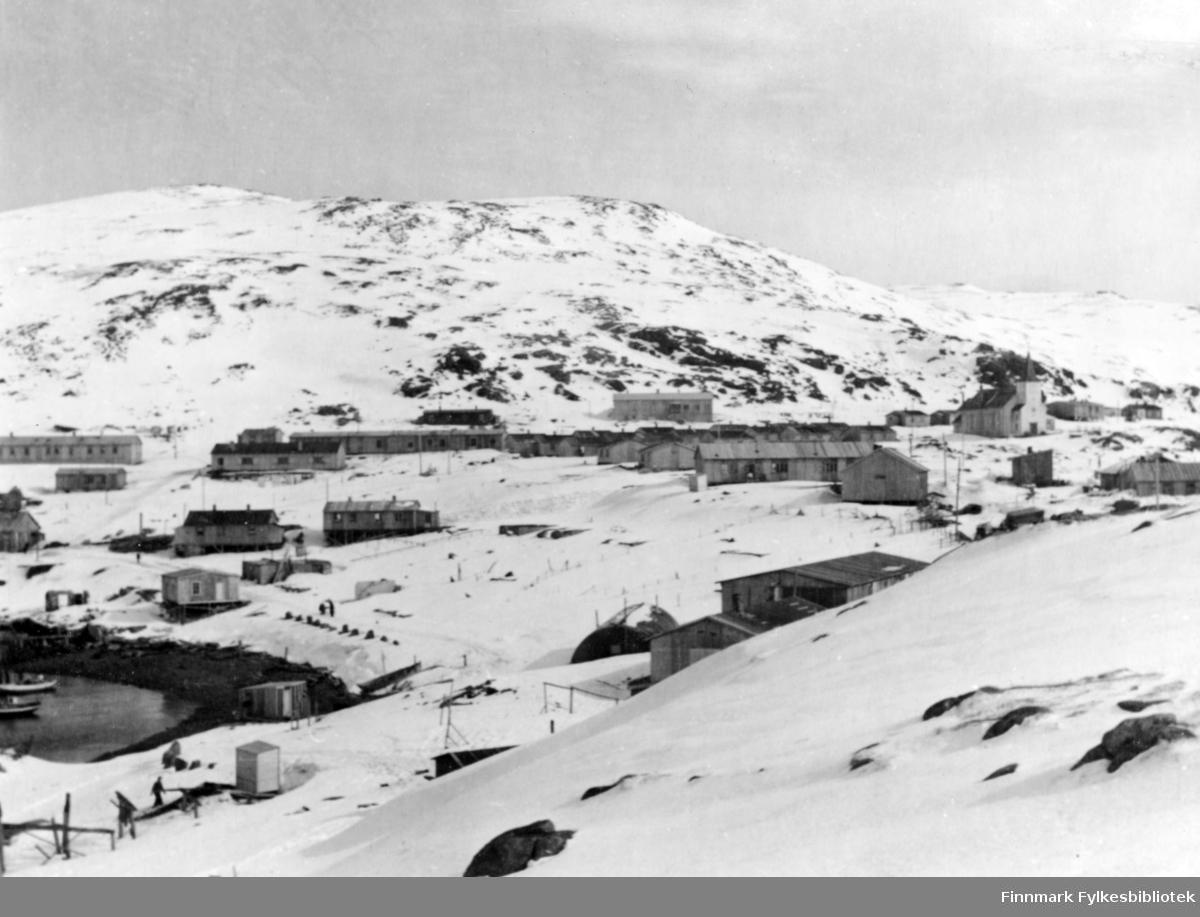 Honningsvåg, 1947. Til høyre i bilde kan man se en Kirke.
