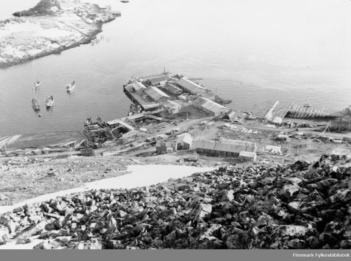 Honningsvåg, 1947. Oversiktsbilde av Bygda.