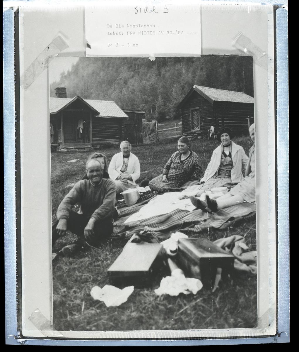 Kvinner og menn sitter på et teppe på grasmarken utenfor et mindre  hus i tømmer. Det er også ei tømra bu på tunet. I bakgrunnen sees hesjer med for på.