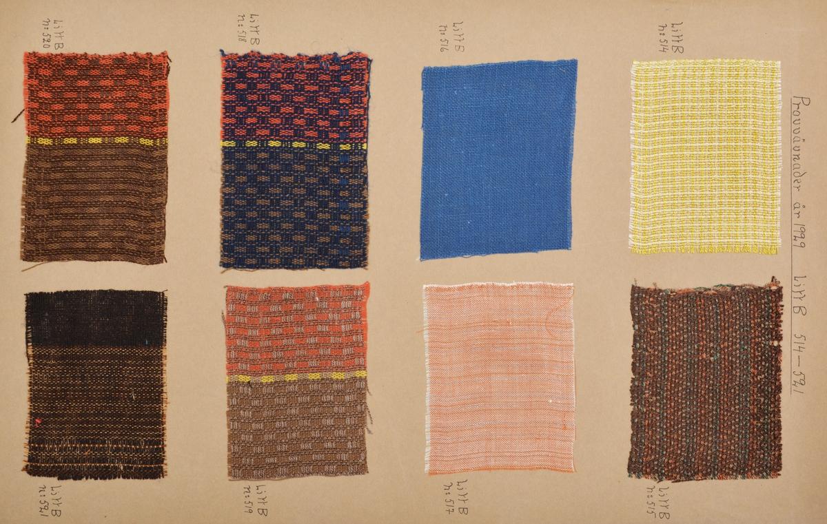 """Stor pappersmapp med lösa blad med påklistrade tygprover. Pärmarna är av en annan papperskvalité än papperna innuti. Pärmarna hålls ihop med ett par långa, handvävda band. Text på framsidan; """"Väfprofer År 1929""""."""