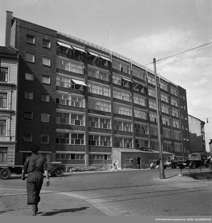 Akers Mekaniske Verksted, velferdsbygget. Mai 1950.