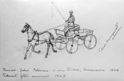 """""""Konsul Johan Pettersson i sin trilla, Uddevalla 1900. Teckn"""