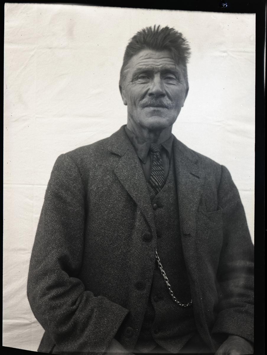 Mann avbildet i halvfigur. Han er kled i tweed-dress og slips, og har mørk skjorte. Lommeurlenke på vesten.