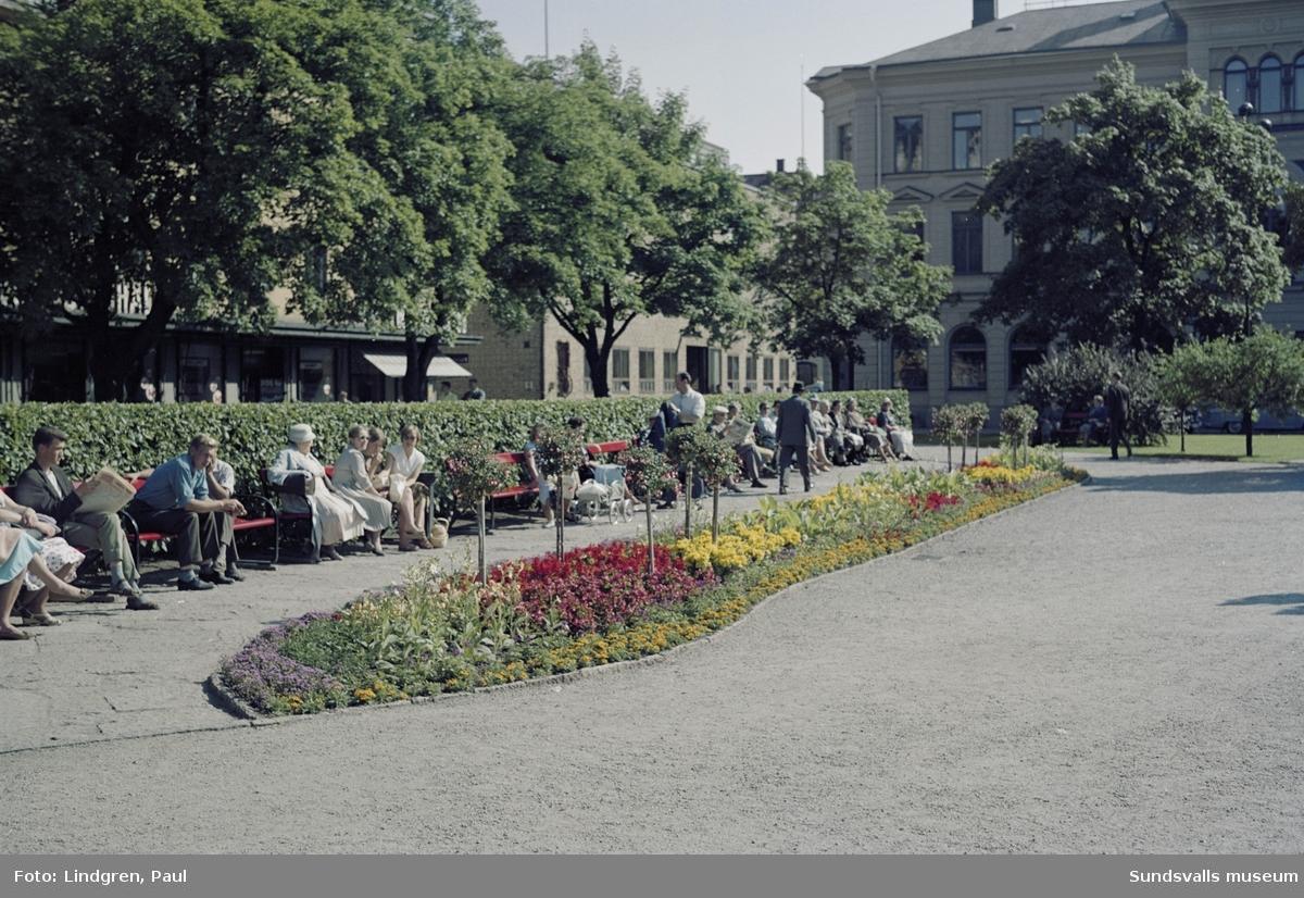 Vängåvan i hörnet mot Bankgatan med flanörer på parkbänkarna. Blomsterplanteringar framför.