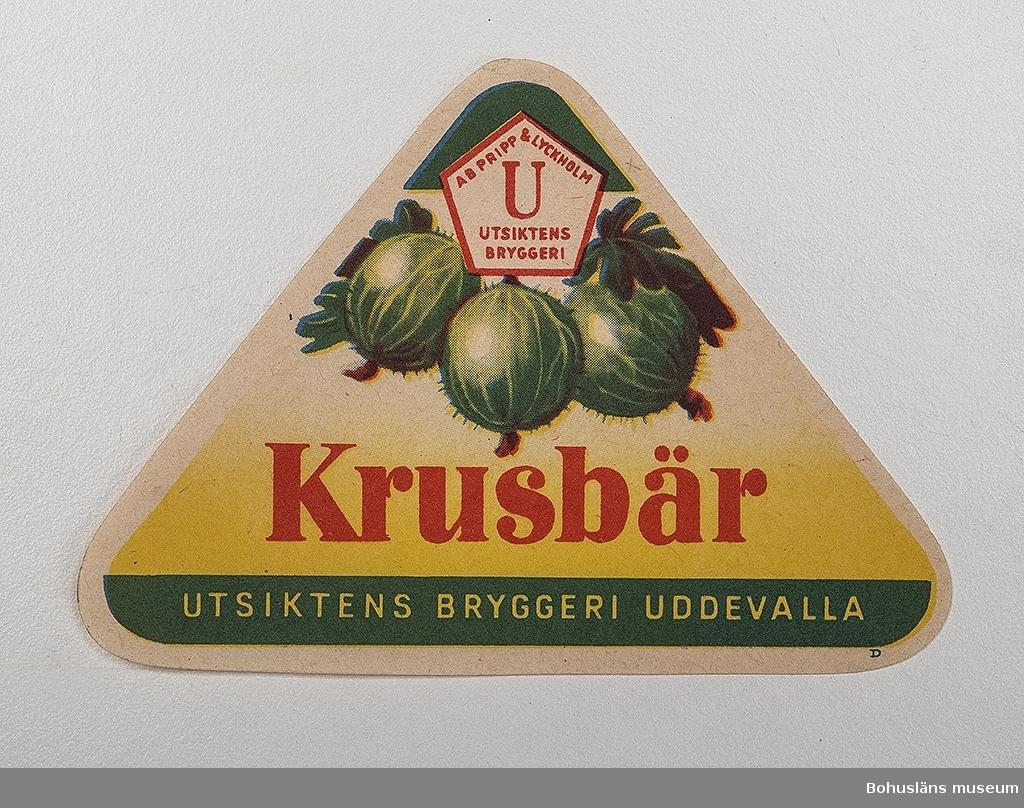 Läskedrycksetikett från Utsiktens Bryggeri, Uddevalla.