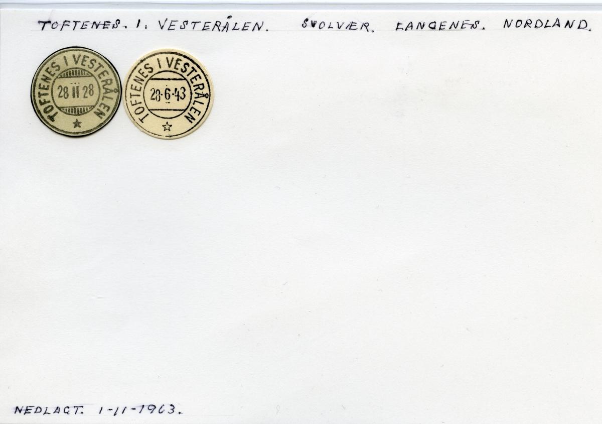 Stempelkatalog Toftenes i Vesterålen, Svolvær, Langnes, Nordland