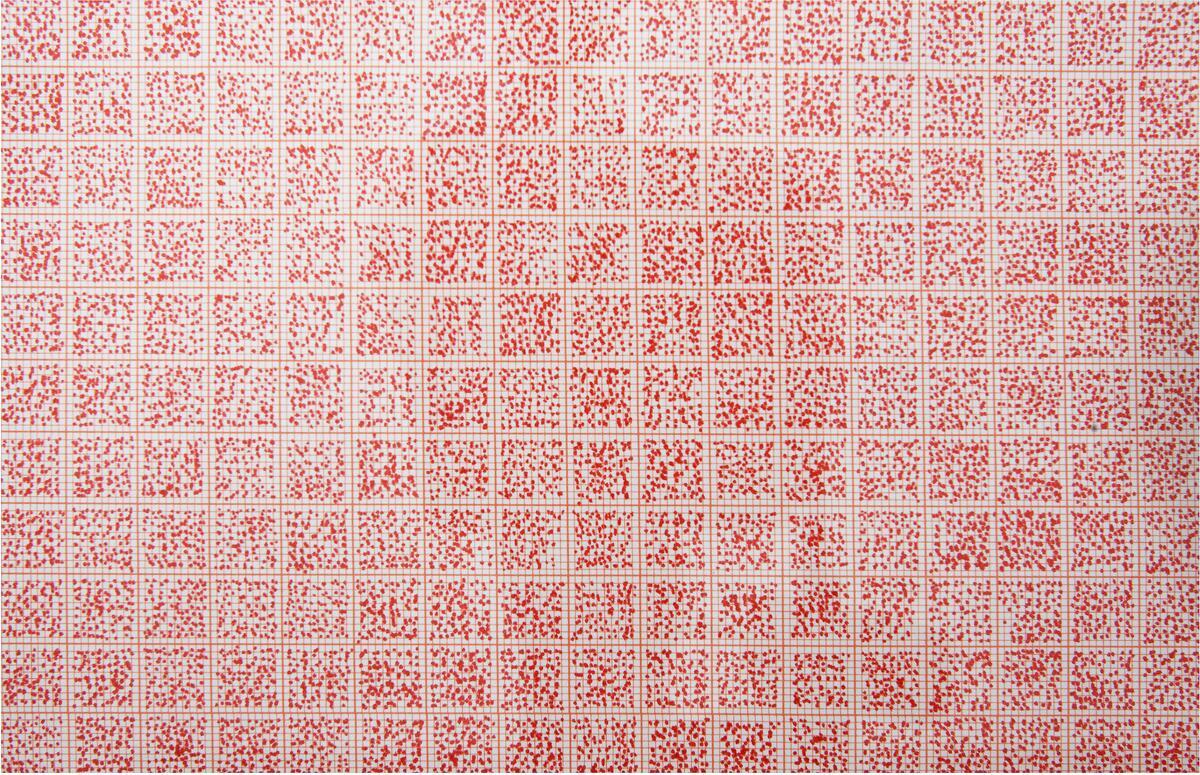 A 2  ( R e d )  Hundre vilkårlige punkt per cm2    Penn: (Sakura) Pigma Micron 05, Archival ink Colour: Red Papir :A2 millimeterpapir Størrelse:A2 (594 x 420 mm) År:2013    FOTO: Ronny Danielsen (Foto/Photo)