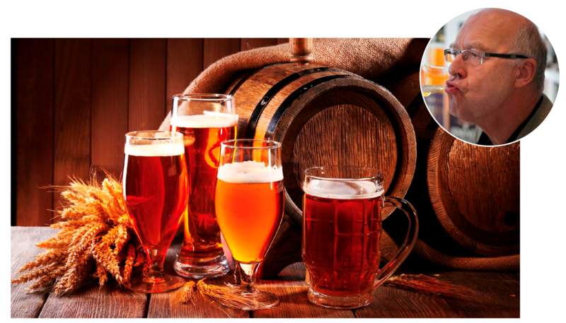 Fotomontasje med bilde av forskjellige glass med øl og et innfelt bilde av Gotmar Rustad. (Foto/Photo)