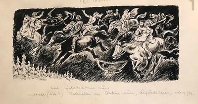 William Lunden, original tegning, Åsgårdsreia36x21cm, kr 2500 Selges på vegne av familien. (Foto/Photo)