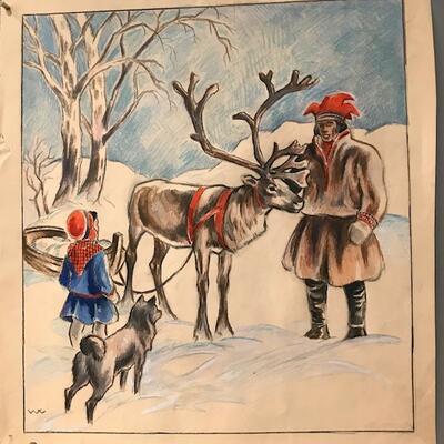 William Lunden. original tegning, Reinsdyr , 31x34cm, kr 3000 Selges på vegne av familien. (Foto/Photo)