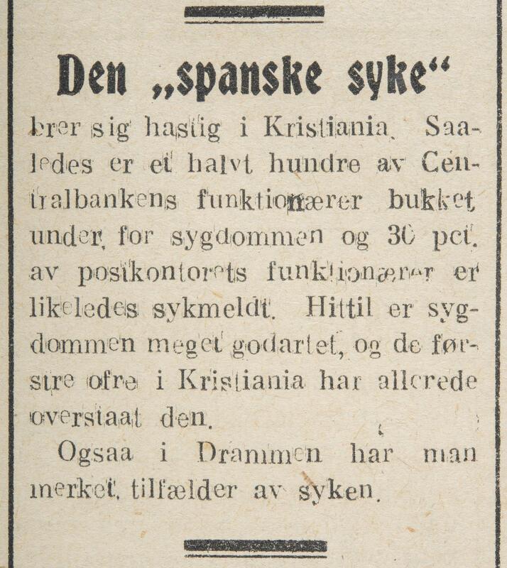 I pandemiens første fase hadde sjukdommen et ganske mildt preg, og de fleste overlevde. Likevel påvirket den dagliglivet i Kristiania i stor grad. Fra Indlandsposten, 4. juli 1918. (Foto/Photo)