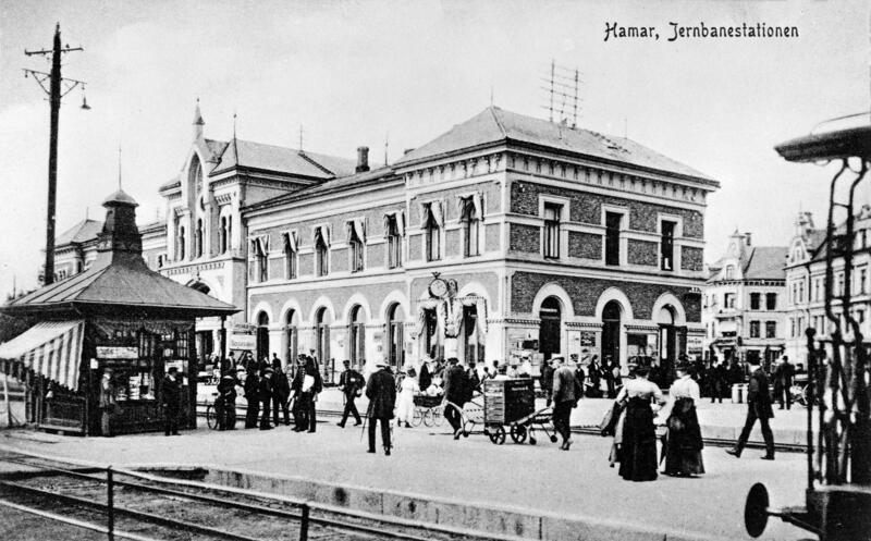 Hamar jernbanestasjon, ca. 1910 (Foto/Photo)