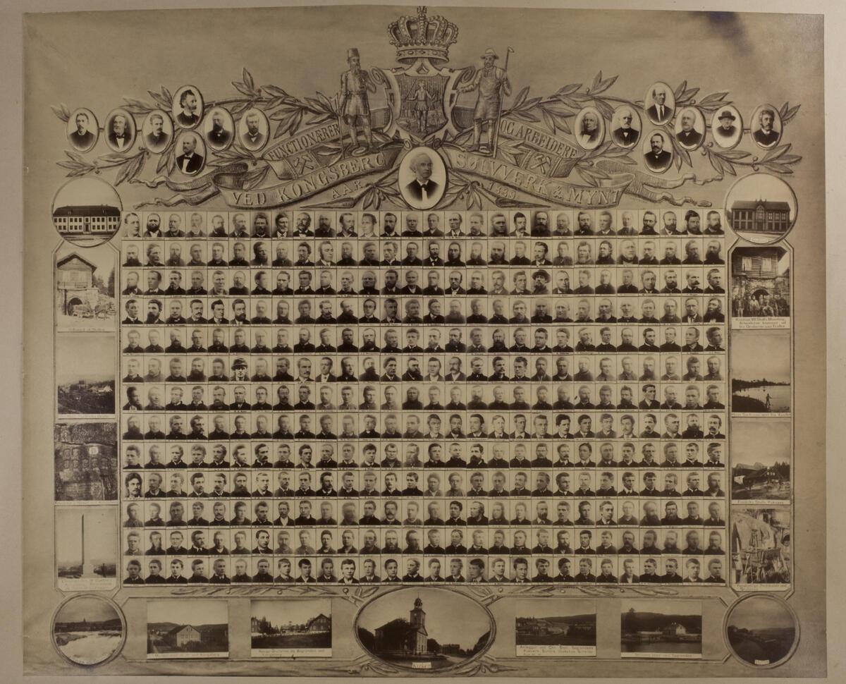 Bilder av funksjonærer og arbeidere ved Kongsberg Sølvverk og Mynt 1889 (Foto/Photo)