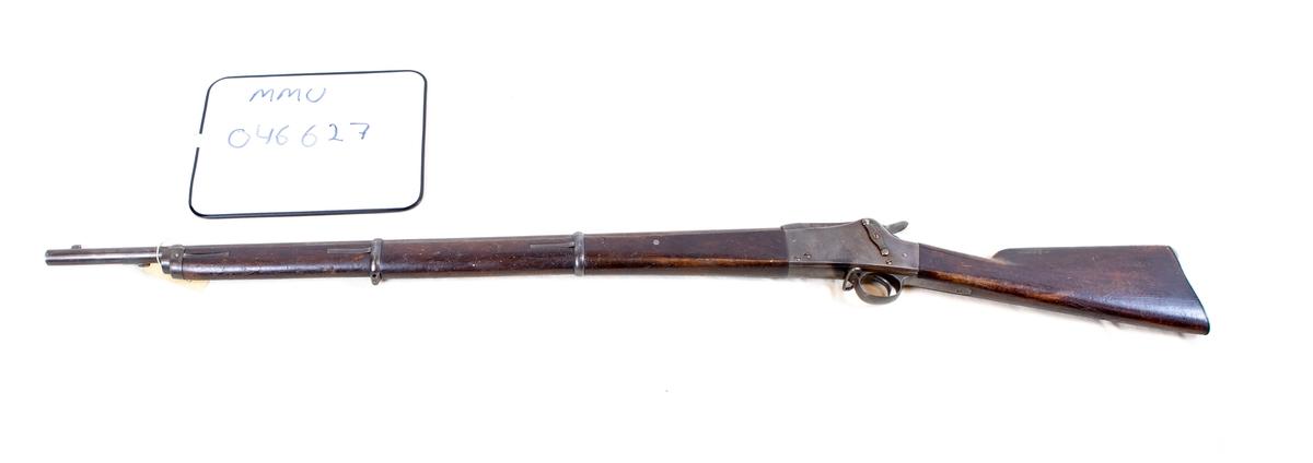 Våpen nr. 272. Sikteskur mangler. Forreste remfeste mangler. Bærerem mangler. Merkinger: Låskassens høyre side, låskassens venstre side. Merket CJV 1878.