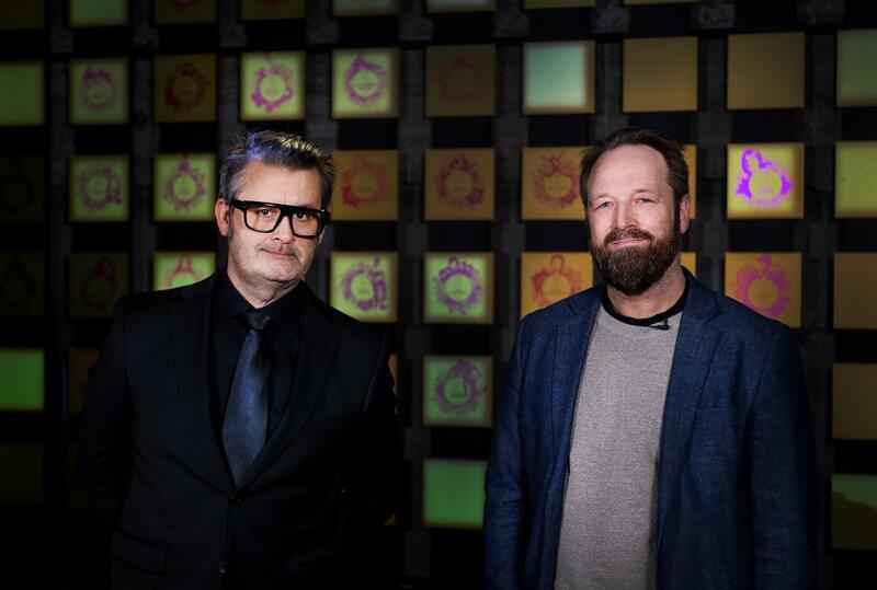 Thomas Seltzer er programleder for Rockheim Hall of Fame 2021. Her avbildet med museumsdirektør Arnfinn Stendahl Rokne. Foto: Trine Sletvold. (Foto/Photo)