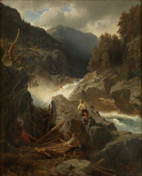 Maleri av foss med tømmer og fløtere.. Foto/Photo