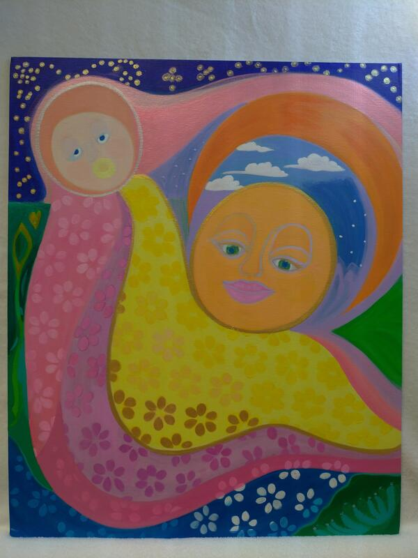 Fargerikt bilde med et moderne madonna og barnet-motiv. (Foto/Photo)