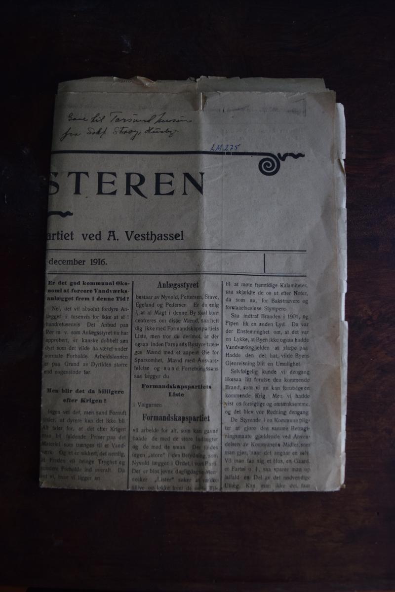 Politisk avis fra desember 1916