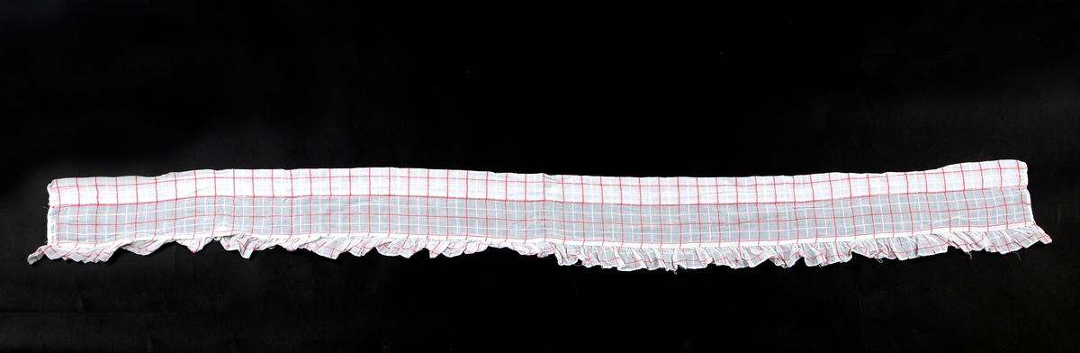 Rynkehode. Langsgående skjøt. Horisontale og vertikale striper. To gardinhøyder og en kappe