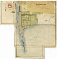 Västerås stads tomter 1688 av Jonas Carlsten, kopierad 1840.
