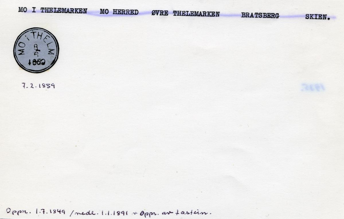 Stempelkatalog  Mo i Thelemarken, Mo herred, Bratsberg, Skien, Telemark
