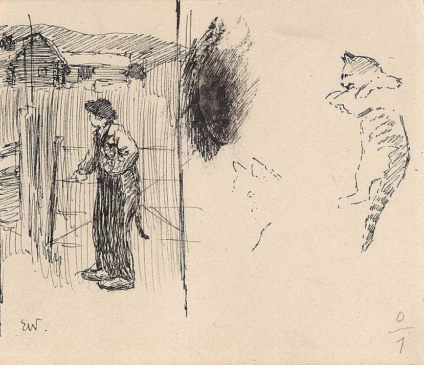 """Forarbeid til illustrasjon til """"Herreper"""" i P. Chr. Asbjørnsen og J. Moe, Eventyrbog for Børn. Norske Folkeeventyr, København 1883 [Illustrasjon]"""