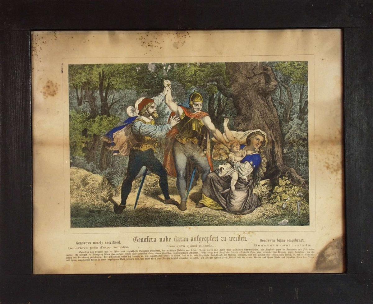 En soldat med våpen, mann med kappe som truer en kvinne med barn.