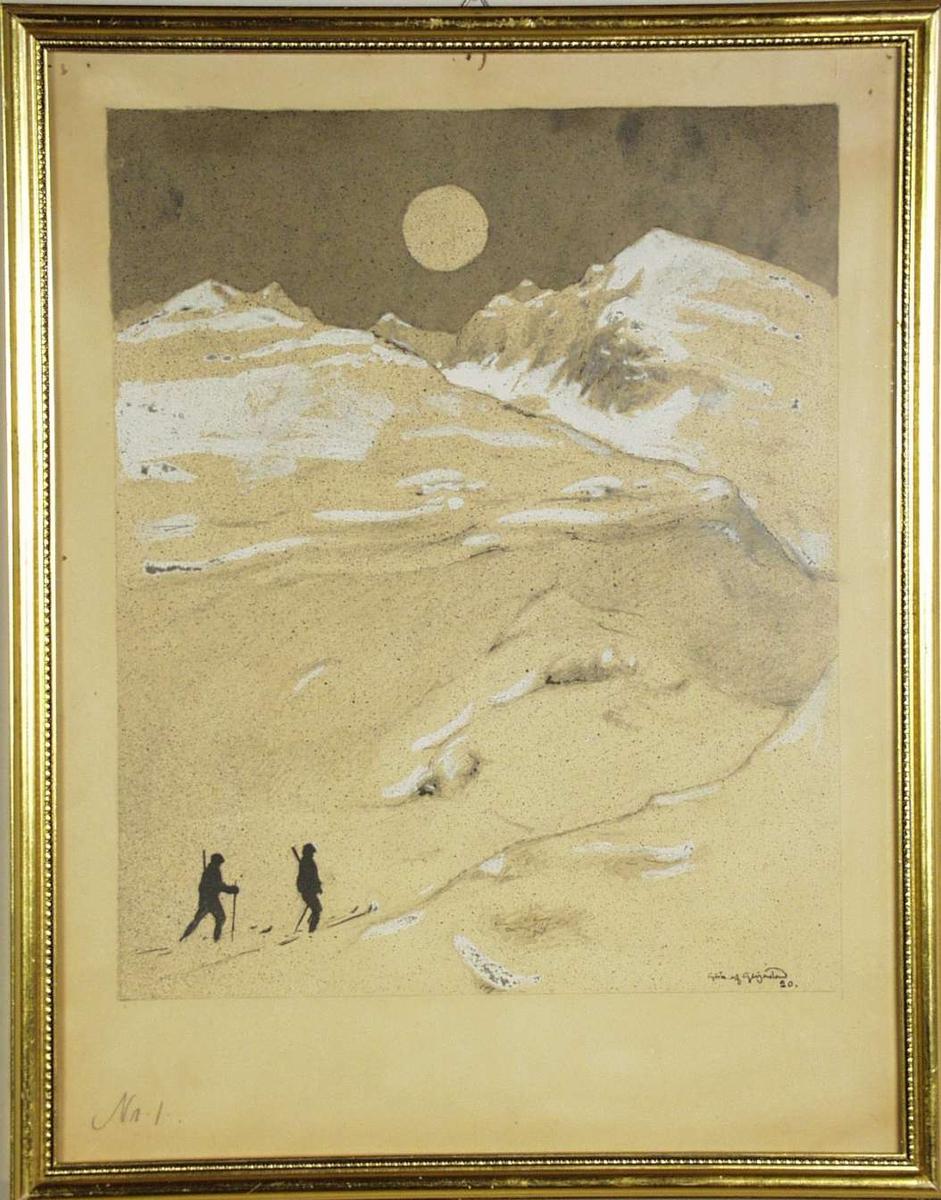To jegere på ski en vinternatt i fjellet.