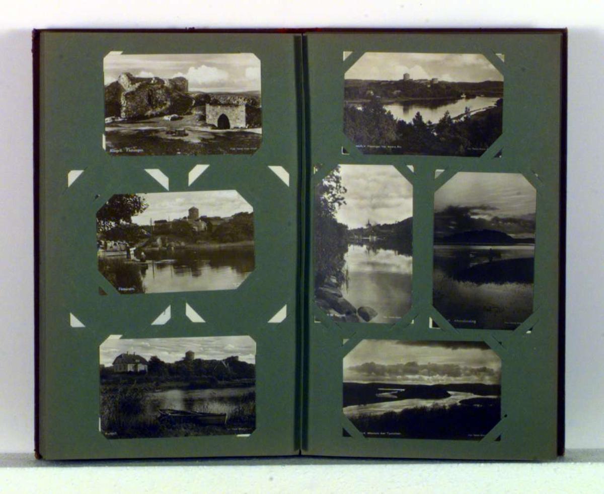Album med bilder/prospektkort. Forsiden dekorert med bildet av en seilskute
