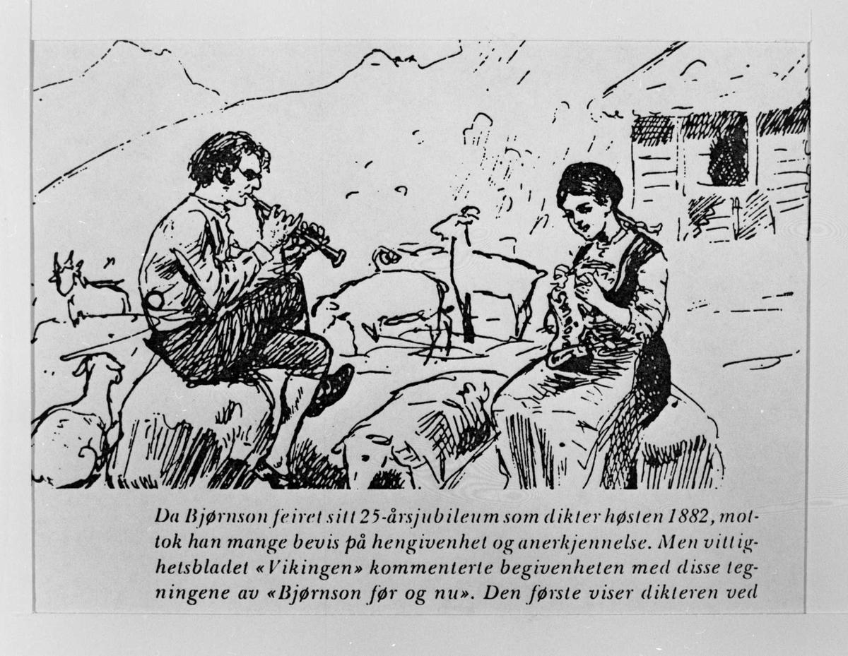 Karikatur, Synnøve Solbakken, Bjørnson, Stiklestad,