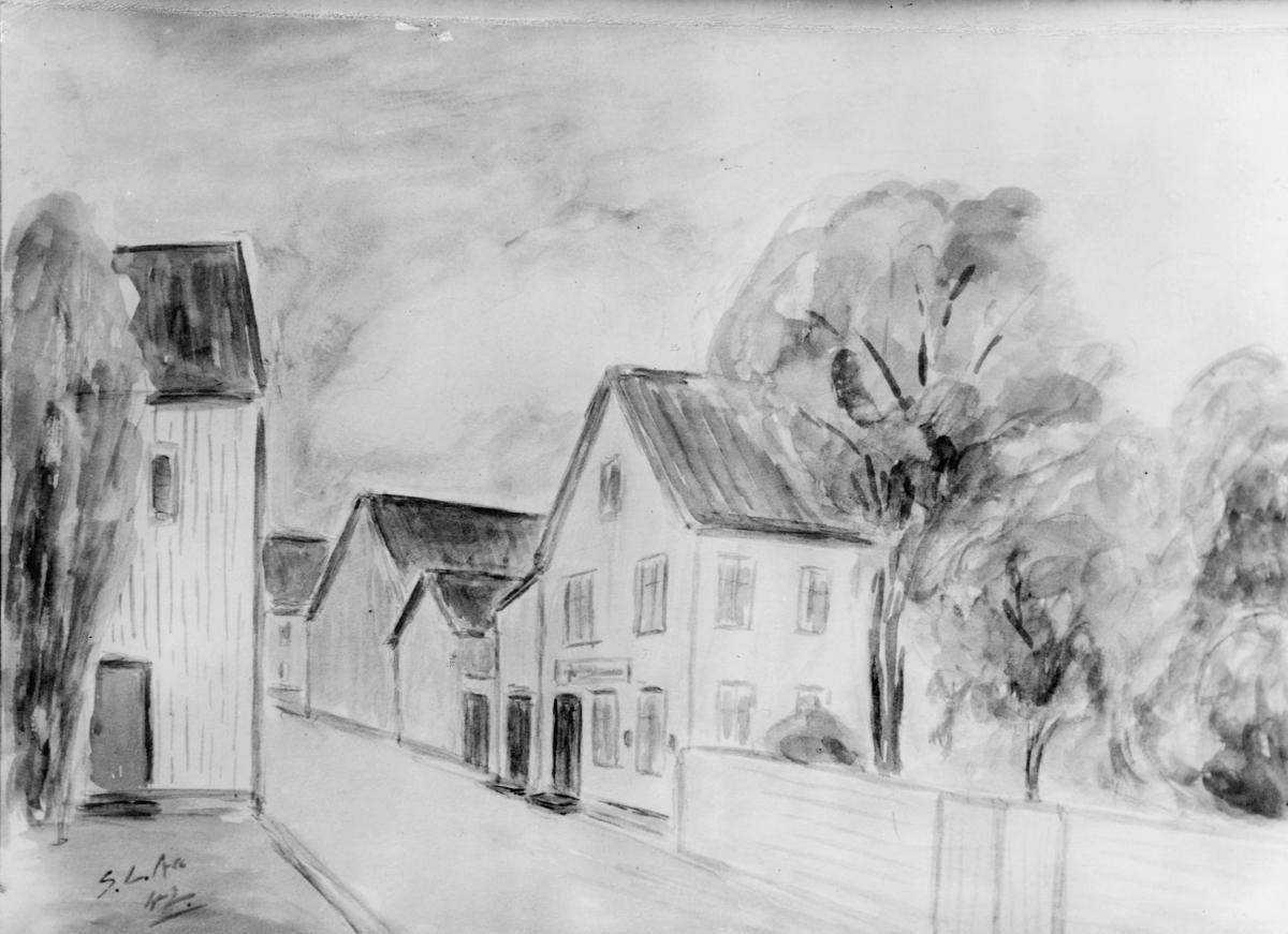 tegning, Flekkefjord, postkontor