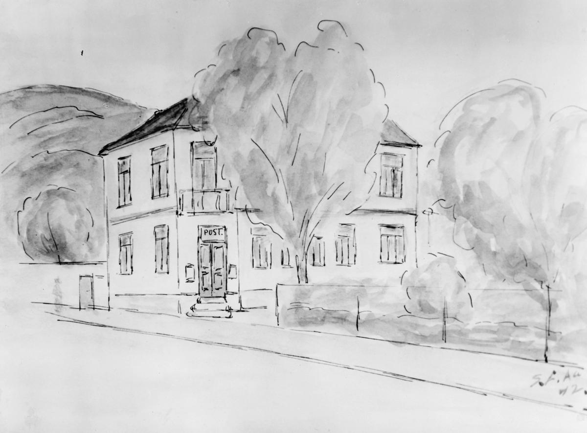 tegning, Flekkefjord postkontor, akvarell