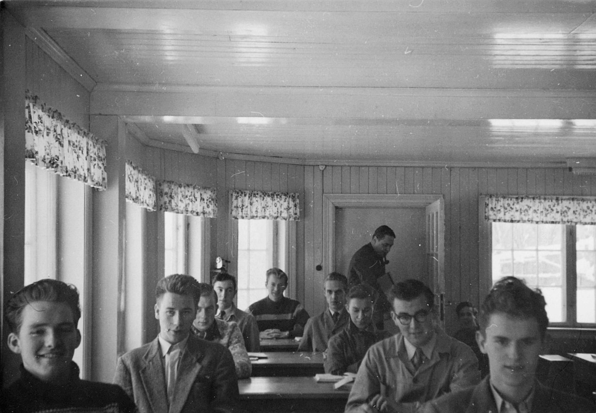 postskolen, forkurset for postelever, januar-februar, 1957, interiør