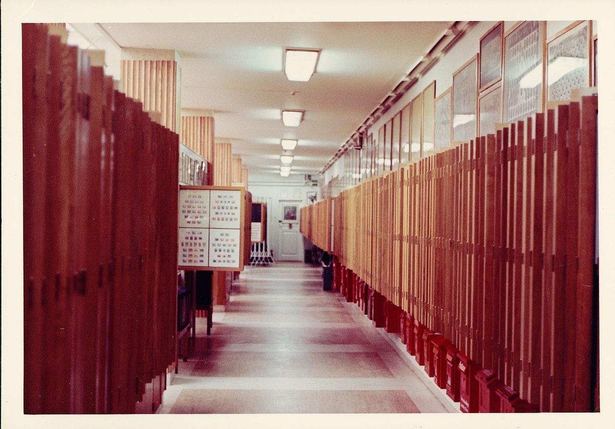 postmuseet, Dronningens gate 15, 4. etasje, interiør, frimerkerom, 1959