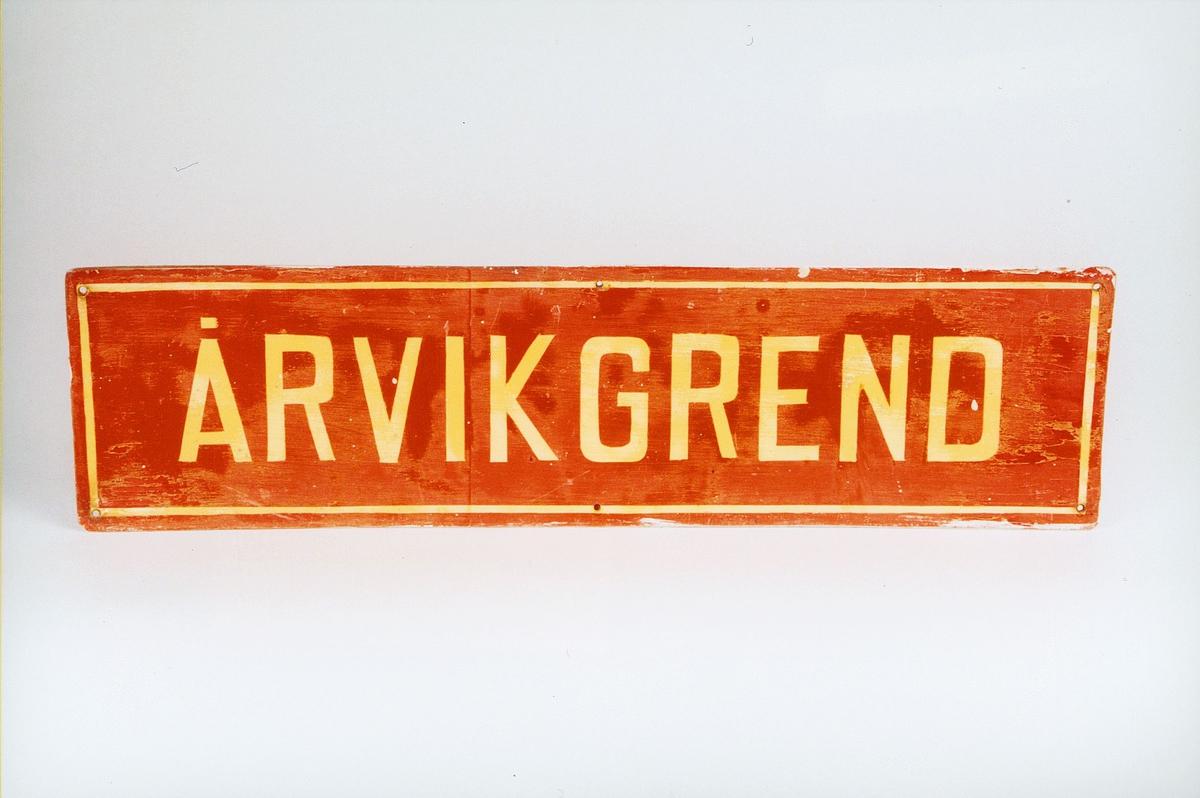 Postmuseet, gjenstander, skilt, stedskilt, stedsnavn, Årvikgrend.