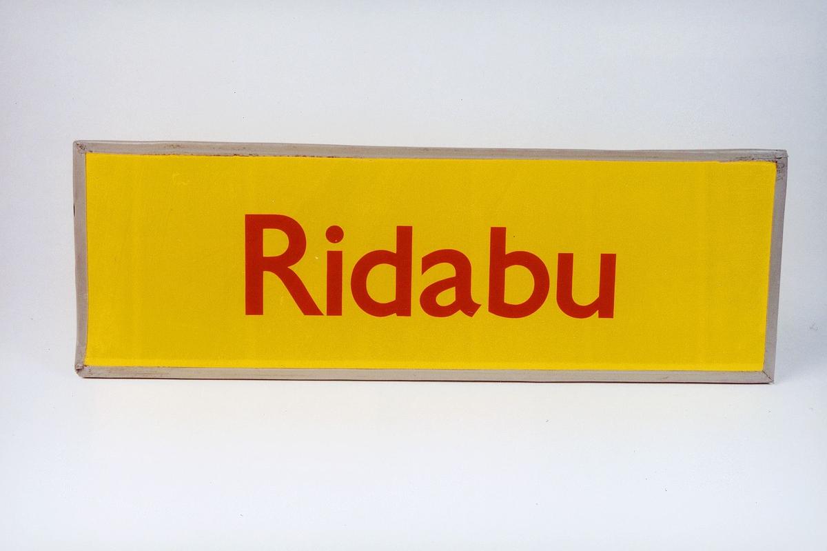 Postmuseet, gjenstander, skilt, stedskilt, stedsnavn, Ridabu.