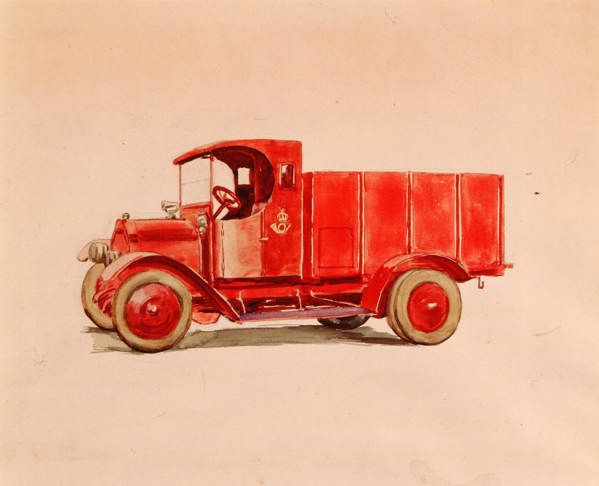 postmuseet, kunst, akvarell, transport, bil, postbil, rød lastebil med overbygget førerhus, åpent lasteplan, motivet finnes også på CD-rom PRO1, bilde nr 68