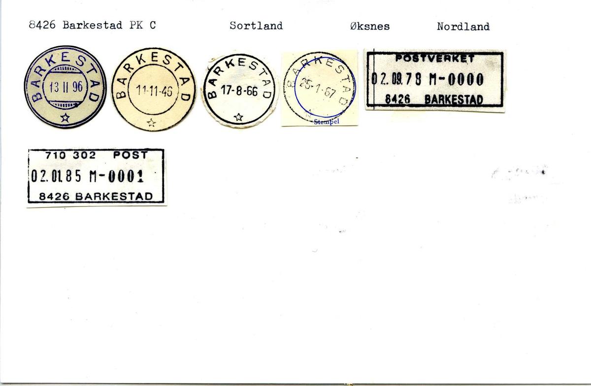 Stempelkatalog, 8426 Barkestad, Sortland, Øksnes, Nordland
