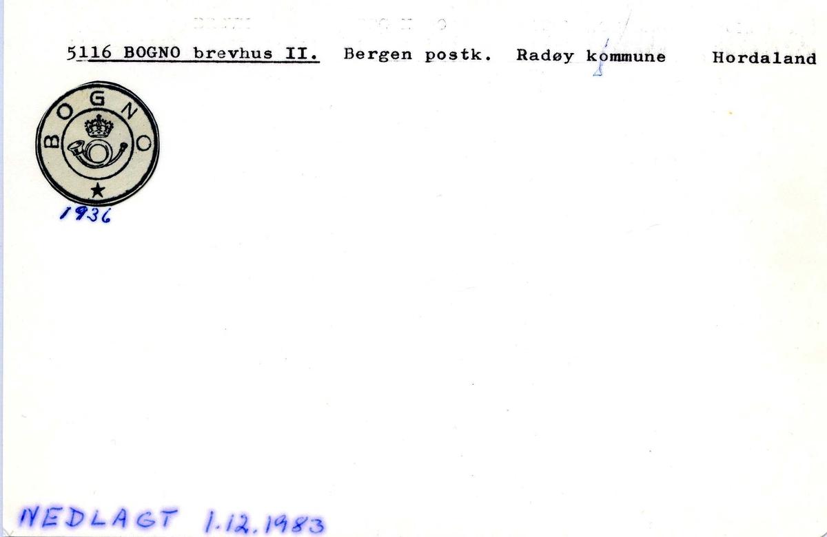 Stempelkatalog, 5116 Bogno, Radøy, Hordaland