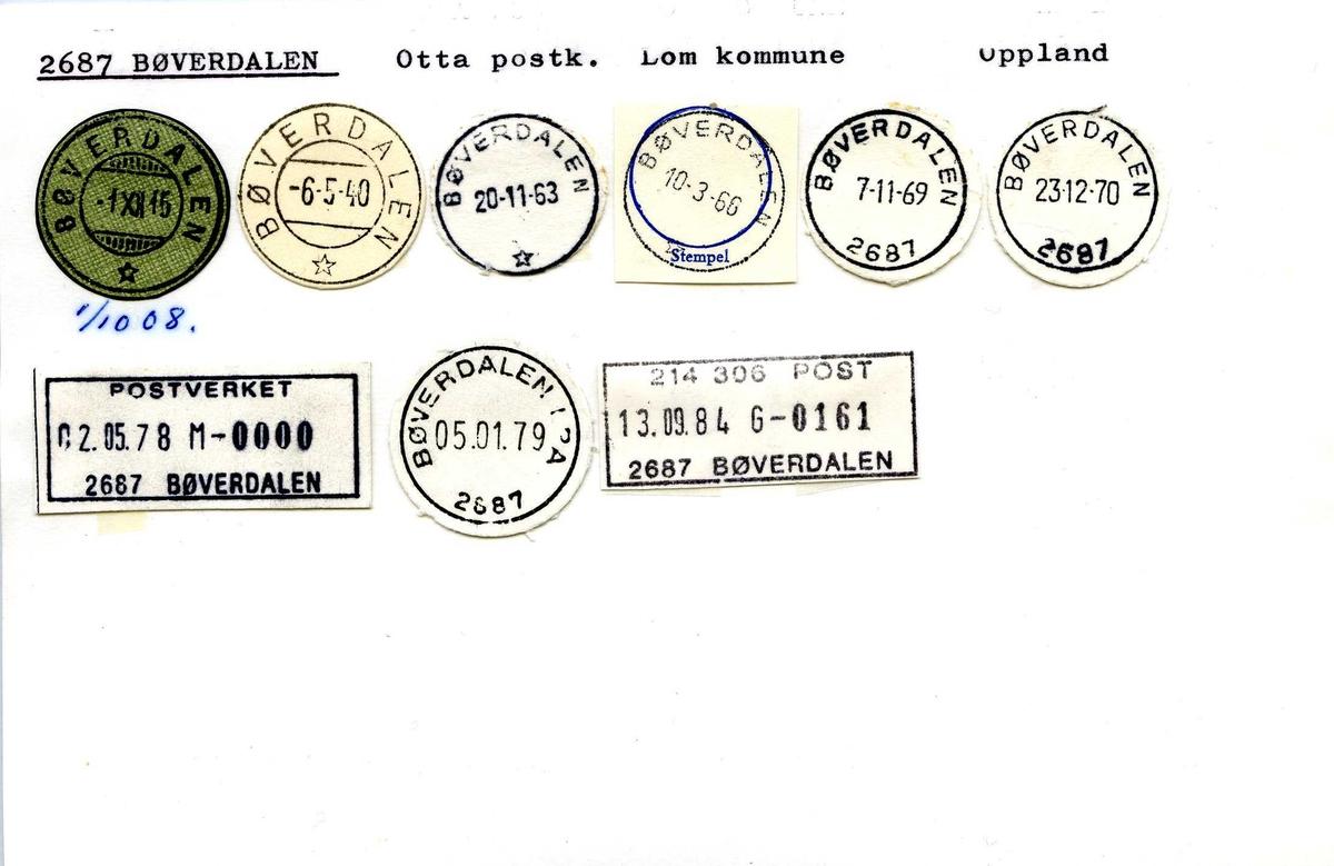 Stempelkatalog, 2687 Bøverdalen, Otta postk, Lom komm,  Oppland