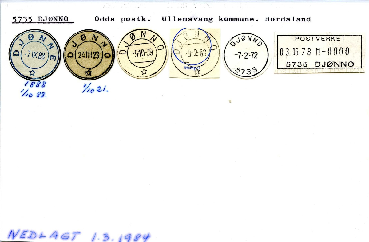 Stempelkatalog, 5735 Djønno, Odda postk., Ullensvang komm., Hordaland