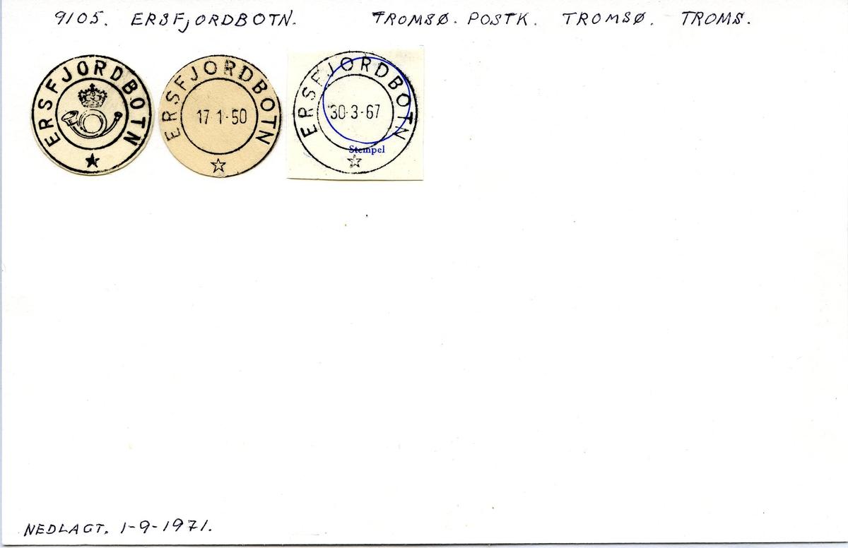 Stempelkatalog. 9105 Ersfjordbotn. Tromsø postkontor. Tromsø kommune. Troms fylke.