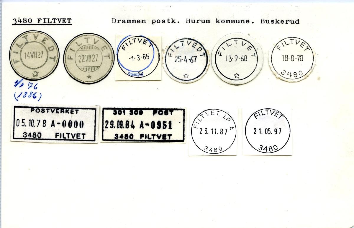 Stempelkatalog, 3480 Filtvet, Drammen postkontor, Hurum kommune, Buskerud fylke.