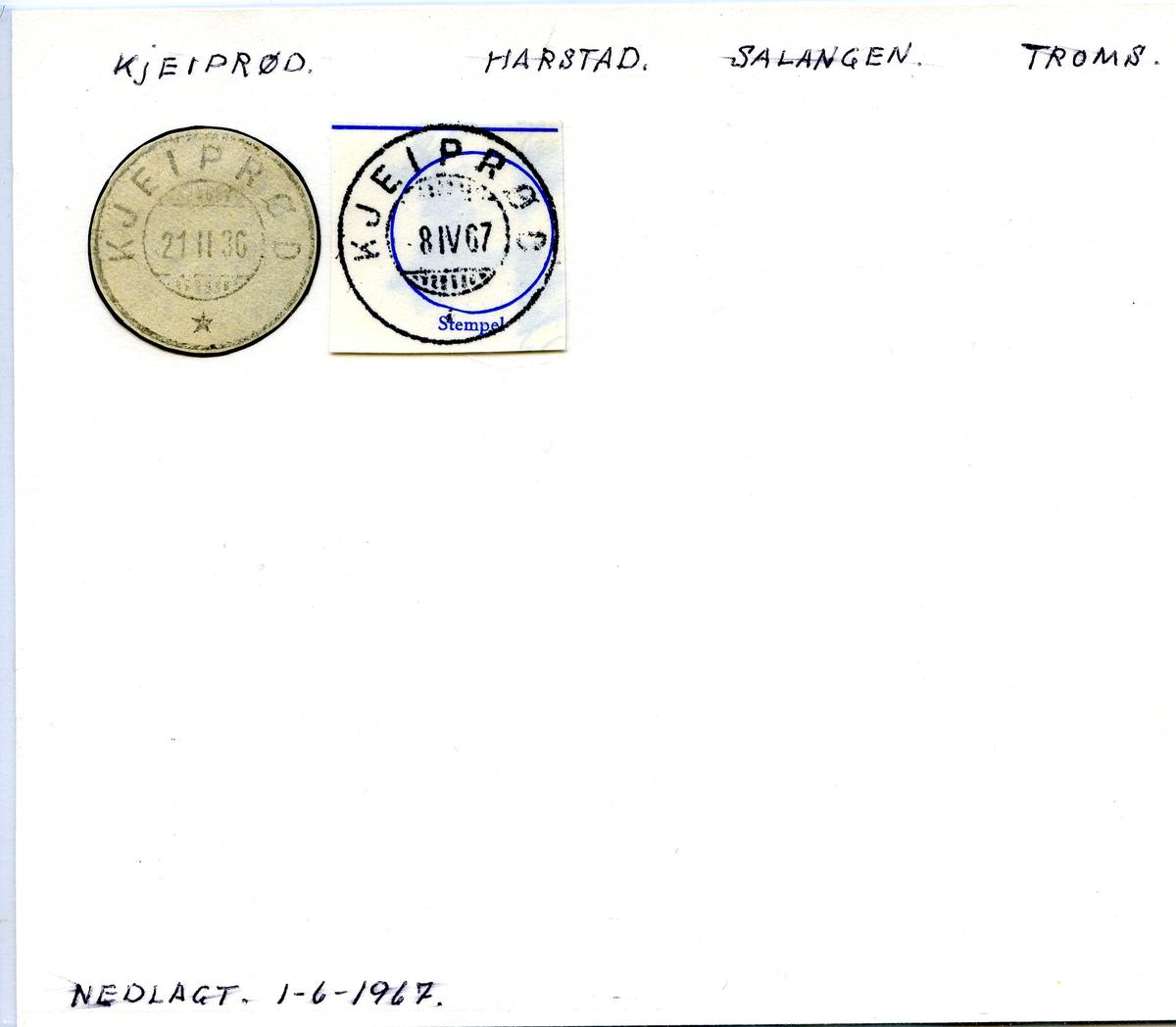 Stempelkatalog Kjeiprød, Harstad postk., Salangen kommune, Troms